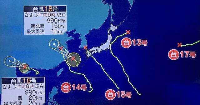 台風19号のたまご発生。災害級大雨になるか?元台風14号と元台風15号は秋雨前線を刺激し東北・北陸に大雨をもたらす。各地で冠水し氾濫の危険も。